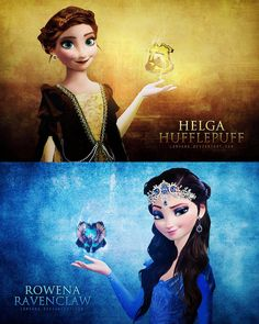 Harry Potter meets Frozen: This artist drew Anna as Helga Hufflepuff and Elsa as Rowena Ravenclaw.