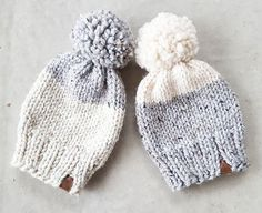 Opposites attract ~ large pom colour block toques are  www.wildchilddesigns.ca