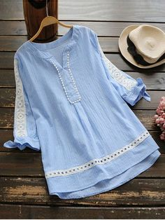 2017 Fashion Blue Vertical Striped Blouse Summer Bowknot Half Sleeve Hollow Crochet Lace Woman Shirt V Neck Loose Tops Camisas Pakistani Fashion Casual, Pakistani Dresses Casual, Pakistani Dress Design, Casual Dresses, Stylish Dresses For Girls, Stylish Dress Designs, Designs For Dresses, Girls Dresses Sewing, Frock Design