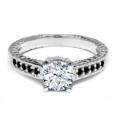1.17 Ct Round White Topaz Black Diamond 925 Sterling Silver Engagement Ringby Gem Stone King http://blackdiamondgemstone.com/jewelry/wedding-anniversary/engagement-rings/117-ct-round-white-topaz-black-diamond-925-sterling-silver-engagement-ring-com/