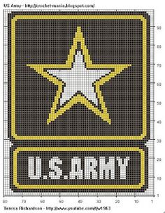 US Army Logo for Chart Tapestry Crochet | Painted Tapestry Crochet