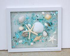 Resin Wall Art, Diy Resin Art, Resin Crafts, Sea Glass Crafts, Sea Glass Art, Shell Crafts, Window Frame Art, Seashell Projects, Broken Glass Art