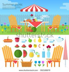 Summer picnic in garden with flowers: umbrella, chairs, basket with food, fruits, cake. Illustration, icon set flat design of picnic items. For web banners promotional materials presentation templates