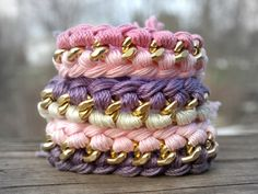Friendship Bracelets : ) Lavender and Ivory Woven Gold Curb Chain by LoveDesignsBoutique