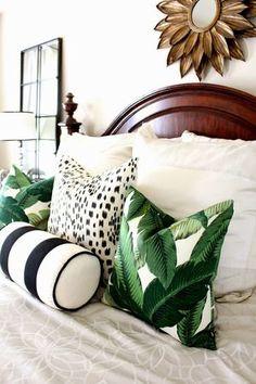 Palm Details Home Decor Home Bedroom Tropical Bedrooms Tropical Bedrooms, Tropical Master Bedroom, Tropical Bedding, Estilo Tropical, Decoration Bedroom, Suites, Tropical Decor, Palm Beach Decor, Tropical Bedroom Decor
