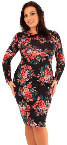 Ladies Plus Size Tropical Floral Mono Chrome Printed Bodycon Midi