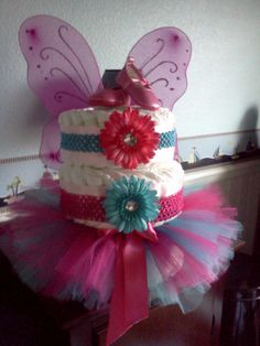 Pink and teal baby shower Diaper cake