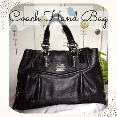 Authentic Coach Handbag-Madison Leather Authentic Coach Handbag. Bought it 3 years ago at Macy's and since then, my mom has used it ONCE. It's been sitting in its dust bag on the shelf of her closet all this time and since she isn't going to use it anymore, it's time to find it a home. It has 3 tags (picture 3) and a beautiful royal purple lining on the inside. The inside of the purse is divided by a zipper pouch. It also has an addition zipper pocket and two cellphone pockets. Comes with…