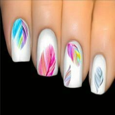 Nail Art Varnish Stickers Multicolored Feather Nails Boho Transfer Easy and flawless manicure thanks to this decal sticker varnish. Refined and bohemian print with multicolored feathers. Trendy new, 20 stickers per sheet. 3d Nail Art, Feather Nail Art, Colorful Nail Art, Nail Art Hacks, Easy Nail Art, Cool Nail Art, Feather Nail Designs, Feather Design, Art 3d