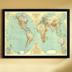 A National Geographic classic, this world map is as much a work of art as it is a reference for its time. Comes framed to hang right away. #MapsDecor 1935 World Map, Framed | National Geographic Store