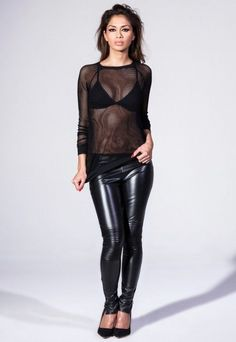 Missguided Nicole PU Leather Trousers RIBBED high Waisted Disco Pants Leggings 8