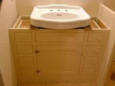 The project lady fake wood cabinet to hide ugly pipes - Discount bathroom vanities los angeles ...