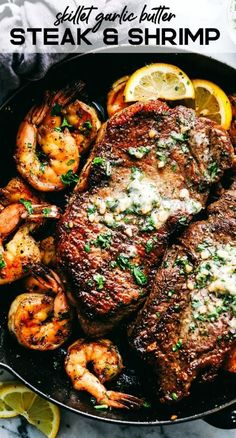 Skillet Garlic Butter Steak and Shrimp is pan seared to tender and juicy perfect. - Skillet Garlic Butter Steak and Shrimp is pan seared to tender and juicy perfect. Skillet Garlic Butter Steak and Shrimp is pan seared to tender and. Shrimp Recipes For Dinner, Low Carb Dinner Recipes, Seafood Recipes, Beef Recipes, Cooking Recipes, Steak Dinner Recipes, Healthy Recipes, Easy Steak Recipes, Soup Recipes