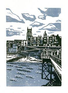 Cromer No.1 two-colour linocut print in by jamesgreenprintworks