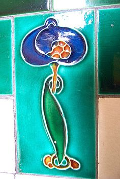 Art Nouveau enamalled Tile in the close of my Glasgow tenement flat by Rob Lightbody, via Flickr