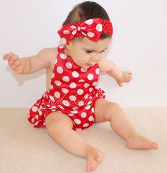 "MINNIE MOUSE BUBBLE ROMPER SET  Price $29.99, Free Shipping Options: 0/6M, 6/12M, 12/18M, 18/24M, 1/2T, 2/3T To purchase, comment ""Sold"", size & EmaiL SET INCLUDES ROMPER AND BOW"