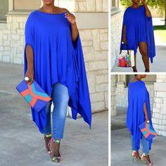Asymmetric Royal Blue Dress