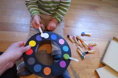 From http://yencamade.blogspot.de/# - Matching the colours game with pegs.