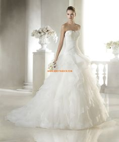 Organza Sans manches Appliques Robes de mariée 2015