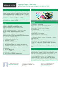 Prepress Checklist Cheat Sheet by Davidpol http://www.cheatography.com/davidpol/cheat-sheets/prepress-checklist/ #cheatsheet #designer #printing #prepress