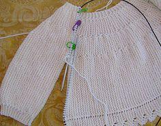 punto dos agujas, knit, baby sweater, baby merino