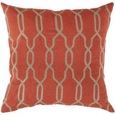 """Red Barrel Studio Edgell Geometric Throw Pillow Size: 18"""", Color: Orange-Red/Parchment, Filler: Polyester"""