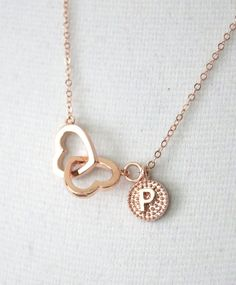 Personalisierte Rose Gold Double Heart von ColorMeMissy auf Etsy