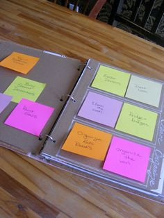 I write tasks and projects on a post-it note and place it on the page on the left.   On the page on the right I have the headings Create, Clean, and Organize.  I keep two tasks under each heading and focus only on the tasks on that page.  When I complete a task I crumple up the note and throw it a way, and put a new one (from the left side page) in it's place.