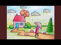 Rainy Season Scenery Drawing for Beginner Basic Drawing For Kids, Scenery Drawing For Kids, Drawing Videos For Kids, Drawing Lessons For Kids, Easy Drawings For Kids, Drawing For Beginners, Painting For Kids, Crayon Drawings, Oil Pastel Drawings