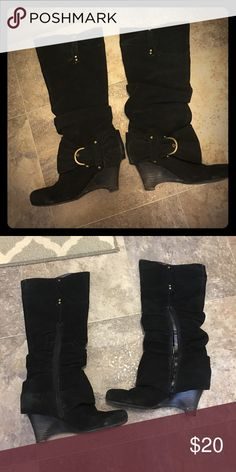 Naughty Monkey Black Suede Tall Wedge Boot Bought 2 pairs of these because I loved them so much. Have way too many black boots so getting rid of one pair. Very comfortable. Slouchy look, still a pretty tall boot. Need a light cleaning from being in storage but in very good condition. naughty monkey Shoes Heeled Boots