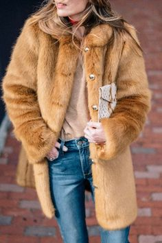 camel fur coat