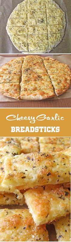 Easy Cheesy Garlic Breadsticks A seductive chewy, crispy, garlicky, cheesy breadsticks Think Food, I Love Food, Good Food, Yummy Food, Cheesy Breadsticks, Breadsticks Recipe, Foccacia Recipe, Bruchetta Recipe, Appetizer Recipes