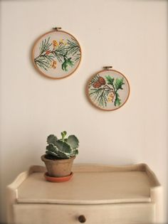 Woodland pair of vintage embroidery wall art hoops. via Etsy.