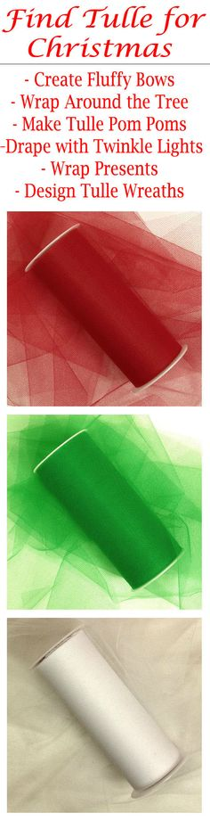 "Shop PaperMart.com for tulle rolls in festive colors for Christmas and all holidays. There are so MANY uses for tulle at the holidays. Use this versatile fabric to wrap gifts or make fluffy bows, use to wrap around the Christmas tree as a colorful garland, make tulle pom poms to hang up for a winder wonderland, make a beautiful backdrop with twinkle lights and tulle, create tulle wreaths for Christmas, and so much more! The tulle rolls are available in 3"", 6"", 12"", and 18"" wide spools. #tulle"