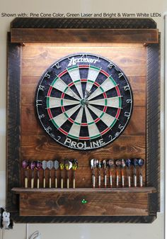 Lighted Darts Board Cabinet LED - Dartboard Throw Line Laser - Electronic Dartboard Cabinet Wi-Fi App Dart Board Backboard, Dart Board Cabinet, Wood Projects, Woodworking Projects, Rustic Games, Electronic Dart Board, Rough Wood, Game Room Basement, Man Cave Bar
