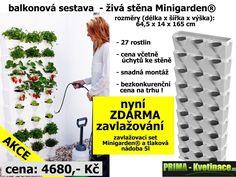 Nejlevnější a nejjednodušší vertikální zahrada pro domácí použití ! Univerzální a jednoduchý systém květináčů Minigarden Vám umožní snadno a rychle postavit vertikální zahradu na pěstování květin, bylin nebo zeleniny u Vás doma, na terase nebo balkóně.