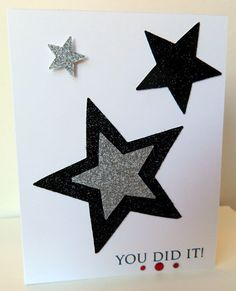 Glittering Stars Graduation Card. This simple yet cool graduation card is made of black and silver glittering stars cutting from sparkle paper. All the best wishes contained in the glittering stars may light up the sky for the graduate.