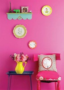 pink, green & yellow home decor