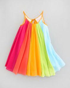 Halabaloo Rainbow Print Dress, Sizes 4-6X - Neiman Marcus