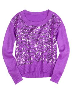 Justice Purple Sweater Zebra print with sequins. Like new, only wore a few times. Justice Girls Clothes, Justice Clothing, Justice Shirts, Kids Clothing, Justice Stuff, Shop Justice, Purple Fashion, Tween Fashion, Girl Fashion