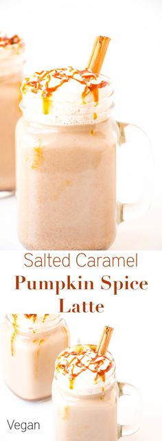 Salted Caramel Pumpkin Spice Latte - Baking-Ginger - - The percect fall drink. This Salted Caramel Pumpkin Spice Latte recipe is quick and easy to make and it is also healthy and can be made to be vegan. Pumpkin Spiced Latte Recipe, Pumpkin Spice Syrup, Pumpkin Recipes, Fall Recipes, Pumpkin Drinks, Vegan Pumpkin, Healthy Pumpkin, Shake Recipes, Yummy Drinks