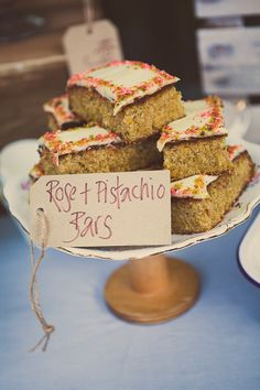 Rose and pistachio bars