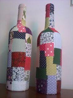 garrafas decoradas com tecido - Pesquisa Google