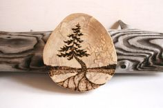 Pine Tree-  Woodland Nature Art  - Original Woodburning Art on  Birch Wood Round