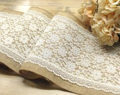 Infinity ivory lace burlap table runner available in a variety of sizes. Beautiful rustic look for your table , with this golden burlap table runner , decorated with vintage inspired infinity design ivory lace! It is unique and elegant for your wedding table, shower, or any occasion.  The runner is 12 inches wide.  ~ DETAILS ~  ~ This listing includes one 100% natural Jute burlap table runner that is serged on all sides to prevent fraying. ~ Table runner shown measures 12 inches wide, and…