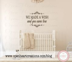 We Made a Wish and You Came True Wall Decal - Baby Nursery Vinyl Wall Decal Quote Lettering Girl or Boy 22H x 32W BA0273 on Etsy, £28.01