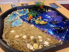 The Rainbow Fish activity? Small world 'Under The Sea' set-up in tuff tray Rainbow Fish Eyfs, Rainbow Fish Activities, Sea Activities, Nursery Activities, Summer Activities, Toddler Activities, The Rainbow Fish, Tuff Spot, Under The Sea Crafts