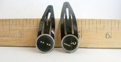 Barrettes Pair Vintage Typewriter Keys 13.00  and : by SouleArt