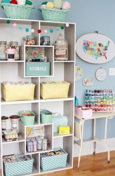 Colorful Craft Room Organization