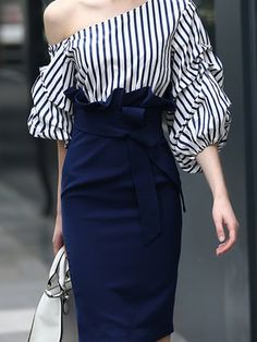 Navy Blue Sheath Elegant Stripes Midi Dress